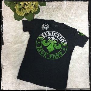 🍀Affliction Live Fast Shirt Black/Green Size L